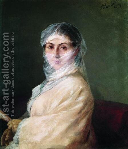 Portrait of the Artist's Wife Anna Burnazyan by Ivan Konstantinovich Aivazovsky - Reproduction Oil Painting