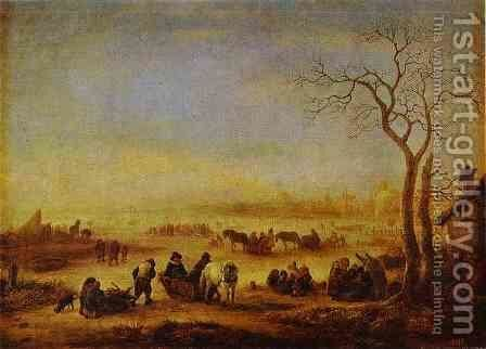 A Frozen Lake by Adriaen Jansz. Van Ostade - Reproduction Oil Painting