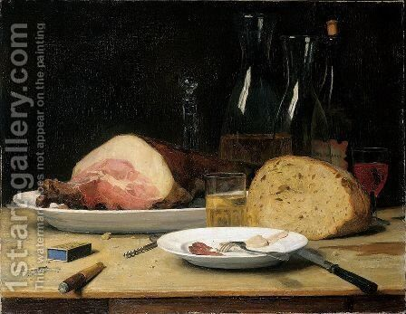 Still Life Excess by Albert Anker - Reproduction Oil Painting
