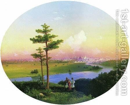 View of Moscow from Sparrow Hills by Ivan Konstantinovich Aivazovsky - Reproduction Oil Painting