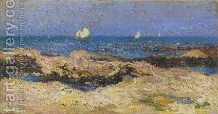 Sailboats near the coast by Henri Martin - Reproduction Oil Painting