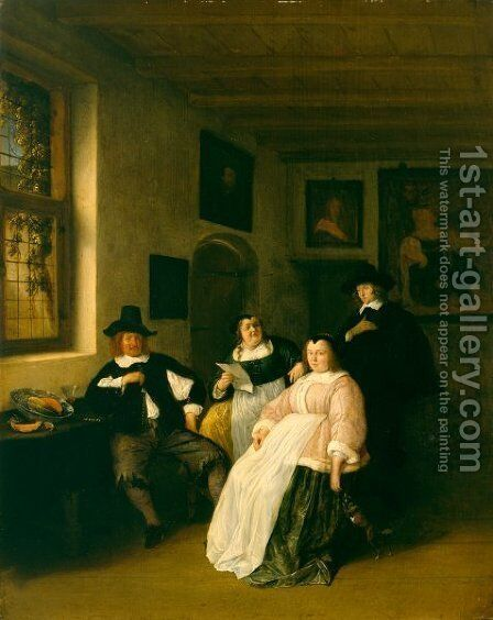 The De Goyer Family and the Painter by Adriaen Jansz. Van Ostade - Reproduction Oil Painting