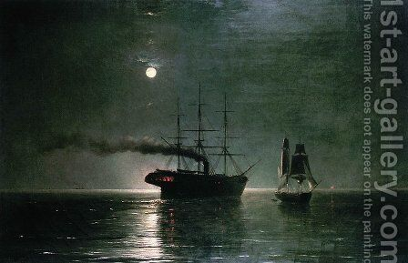 Ships in the stillness of the night by Ivan Konstantinovich Aivazovsky - Reproduction Oil Painting