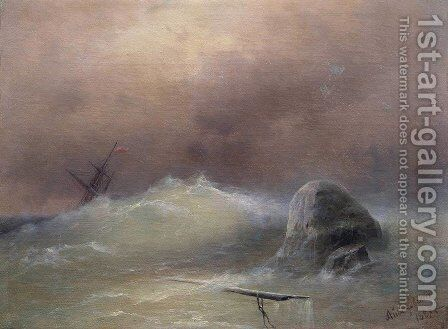 Stormy Sea by Ivan Konstantinovich Aivazovsky - Reproduction Oil Painting