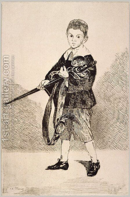 The Boy with a Sword by Edouard Manet - Reproduction Oil Painting