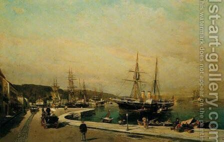 The port of Volos by Constantinos Volanakis - Reproduction Oil Painting