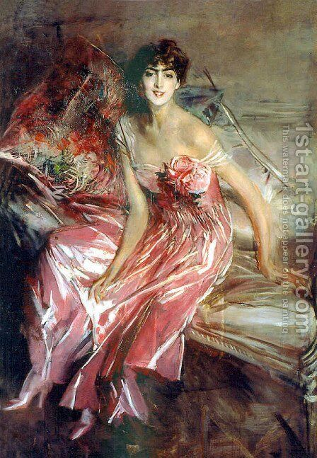 Lady in Rose by Giovanni Boldini - Reproduction Oil Painting