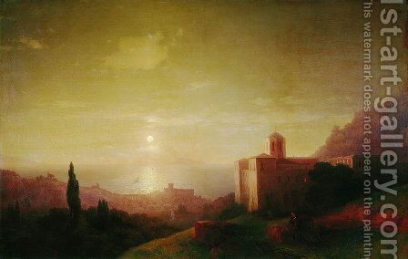 Lunar night on the Crimean coast by Ivan Konstantinovich Aivazovsky - Reproduction Oil Painting