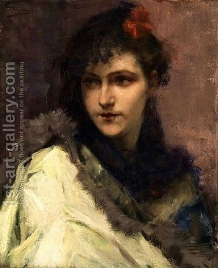 Portrait of a young Lady by Charles Hermans - Reproduction Oil Painting