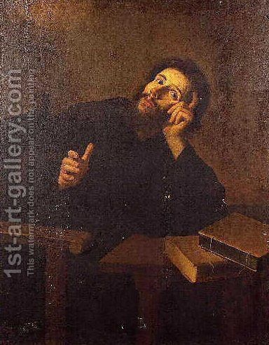Saint Augustine in meditation by Bartolome Esteban Murillo - Reproduction Oil Painting