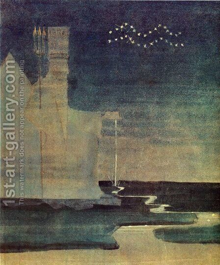Aquarius by Mikolajus Ciurlionis - Reproduction Oil Painting