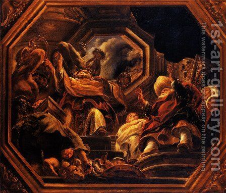 The father of the Psyche consultants of Oracle in the Temple of Apollo by Jacob Jordaens - Reproduction Oil Painting