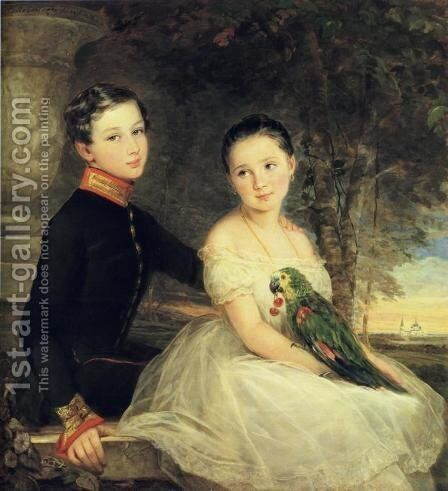 Children with Parrot by Christina Robertson - Reproduction Oil Painting