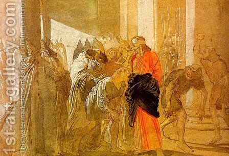 The Mocking of Christ. From the biblical sketches. by Alexander Ivanov - Reproduction Oil Painting