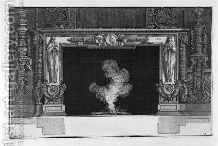 Fireplace with draped figures and horns of plenty at the hips, and a medallion on the frieze and two heads in profile between two fasces by Giovanni Battista Piranesi - Reproduction Oil Painting