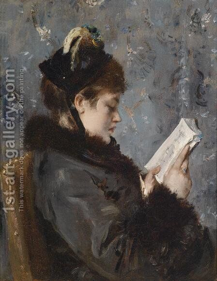 Portrait of a young lady by Alfred Stevens - Reproduction Oil Painting
