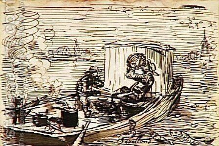 The dinner in boat by Charles-Francois Daubigny - Reproduction Oil Painting