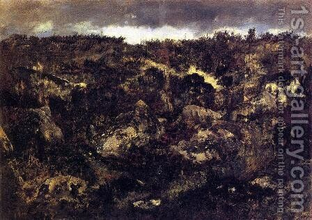 Rocky Landscape by Theodore Rousseau - Reproduction Oil Painting