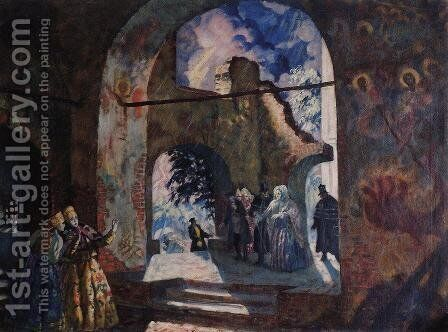 Under the arches of the old church by Boris Kustodiev - Reproduction Oil Painting