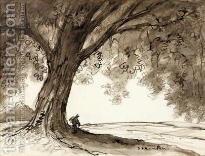 Vagabond under tree by Theophile Alexandre Steinlen - Reproduction Oil Painting