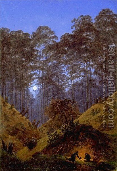 Inside the Forest under the moonlight by Caspar David Friedrich - Reproduction Oil Painting