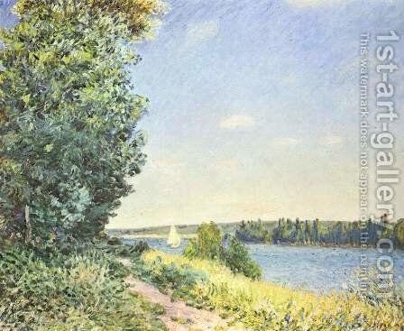 Normandy, the water path, in the evening at Sahurs by Alfred Sisley - Reproduction Oil Painting