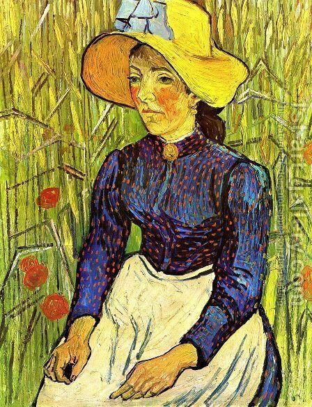 Young Peasant Girl in a Straw Hat sitting in front of a wheatfield by Vincent Van Gogh - Reproduction Oil Painting