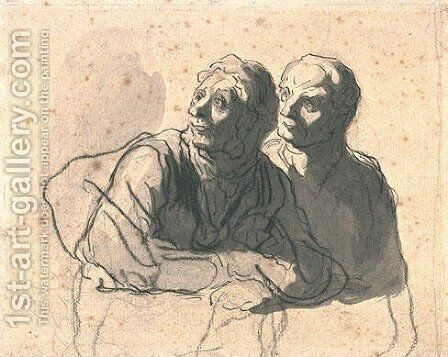 Two men looking at mid body to the left by Honoré Daumier - Reproduction Oil Painting