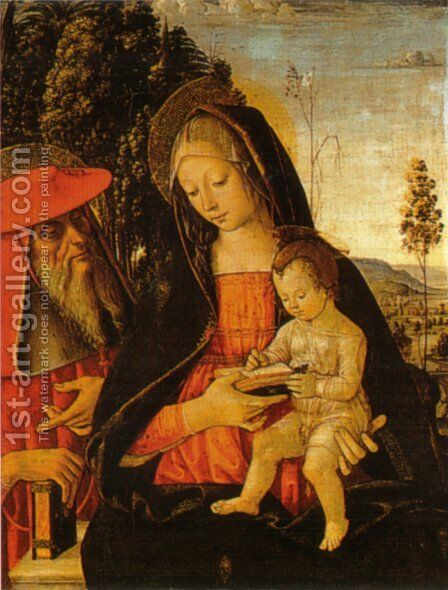 Madonna with Writing Child and St. Jerome by Bernardino di Betto (Pinturicchio) - Reproduction Oil Painting