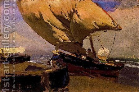 Dragging the trawler by Joaquin Sorolla y Bastida - Reproduction Oil Painting