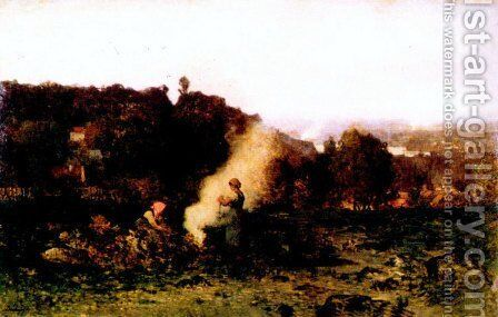 Wood fire in the country by Charles-Francois Daubigny - Reproduction Oil Painting