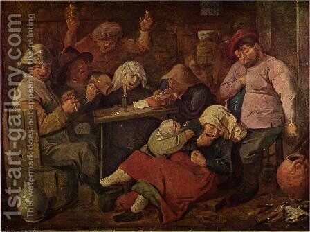 Inn with drunken peasants by Adriaen Brouwer - Reproduction Oil Painting