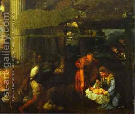 Adoration of the Shepherds by Tiziano Vecellio (Titian) - Reproduction Oil Painting