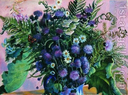 Finland bouquet by Boris Kustodiev - Reproduction Oil Painting