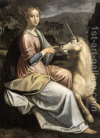 Dama con l'unicorno by Barbara Longhi - Reproduction Oil Painting