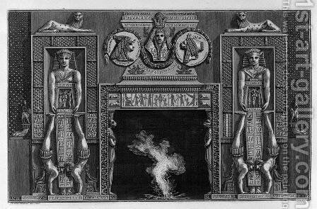 Egyptian-style fireplace, two on each side jugglers spilled on the hands by Giovanni Battista Piranesi - Reproduction Oil Painting