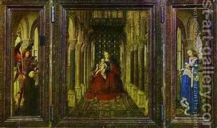 Virgin and Child with St. Michael, St. Catherine and a Donor by Jan Van Eyck - Reproduction Oil Painting
