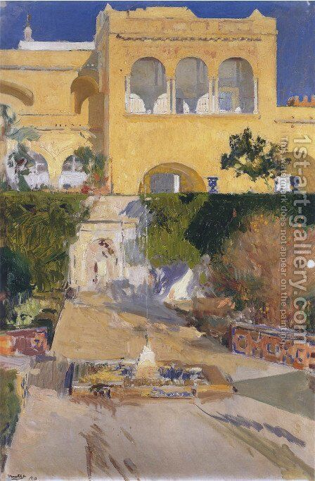 Afternoon sun at the Alcazar of Seville by Joaquin Sorolla y Bastida - Reproduction Oil Painting