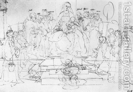 Studies on a great picture of the Virgin   Madonna and Child, saints and angels playing by Albrecht Durer - Reproduction Oil Painting