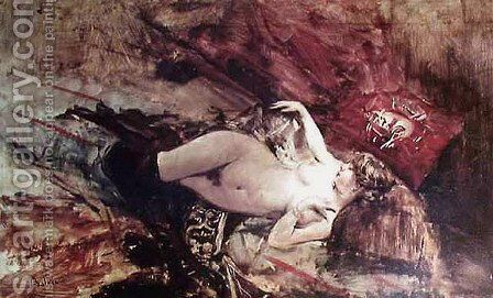 Naked Young Lady with Blanket by Giovanni Boldini - Reproduction Oil Painting