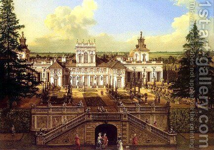 Wilanow Palace seen from the garden by Bernardo Bellotto (Canaletto) - Reproduction Oil Painting