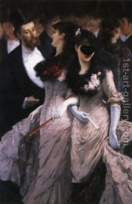 At the Masquerade (detail) by Charles Hermans - Reproduction Oil Painting