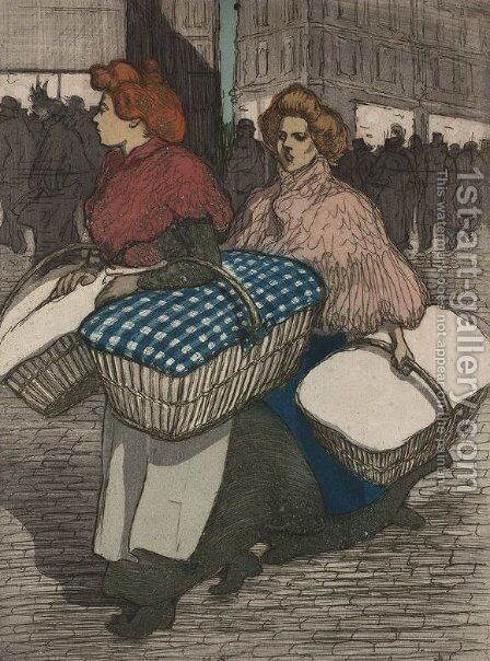 Laundresses are carrying linnen by Theophile Alexandre Steinlen - Reproduction Oil Painting