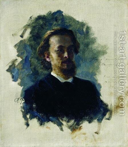 Head of a Man by Ilya Efimovich Efimovich Repin - Reproduction Oil Painting