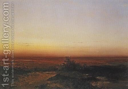 Dawn in the desert by Alexei Kondratyevich Savrasov - Reproduction Oil Painting