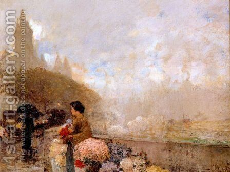 Flower girl by the Seine, Paris 2 by Frederick Childe Hassam - Reproduction Oil Painting