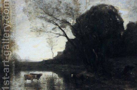The Ford under the Bended Tree by Jean-Baptiste-Camille Corot - Reproduction Oil Painting