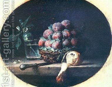 Still Life with Plums and a Lemon by Anne Vallayer-Coster - Reproduction Oil Painting