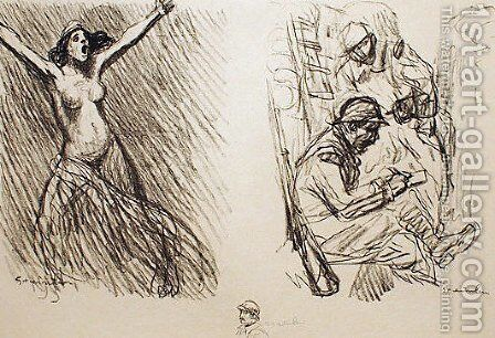 Planche de Croquis No 2 by Theophile Alexandre Steinlen - Reproduction Oil Painting