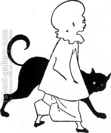 Pierrot and cat, from St. Paul's by Aubrey Vincent Beardsley - Reproduction Oil Painting